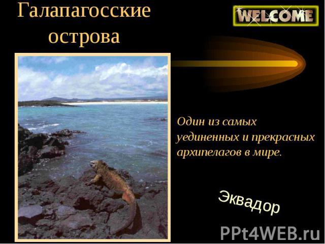 Галапагосские острова Один из самыхуединенных и прекрасныхархипелагов в мире.