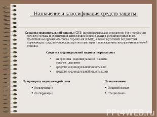 Назначение и классификация средств защиты.  Средства индивидуальной защиты (