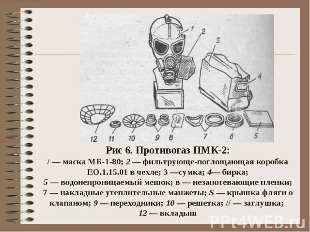 Рис 6. Противогаз ПМК-2:/ — маска МБ-1-80; 2 — фильтрующе-поглощающая коробка ЕО.1.15.01 в чехле; 3 —сумка; 4— бирка;5 — водонепроницаемый мешок; в — незапотевающие пленки; 7 — накладные утеплительные манжеты; S — крышка фляги о клапаном; 9 — перехо…