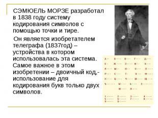 СЭМЮЕЛЬ МОРЗЕ разработал в 1838 году систему кодирования символов с помощью точк