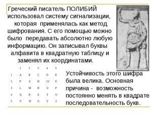 Греческий писатель ПОЛИБИЙ использовал систему сигнализации, которая применялась