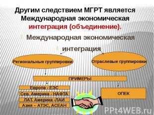 Другим следствием МГРТ является Международная экономическая интеграция (объедине