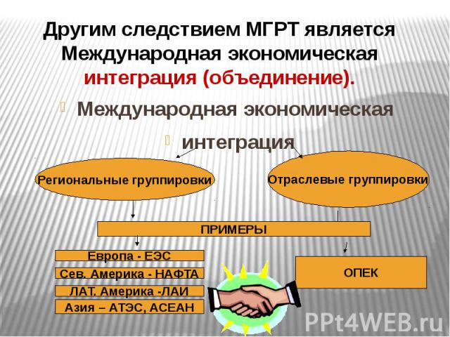 Другим следствием МГРТ является Международная экономическая интеграция (объединение).Международная экономическая интеграция