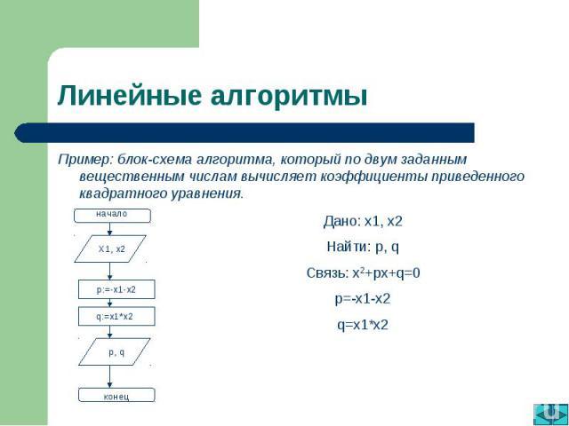 Линейные алгоритмы Пример: блок-схема алгоритма, который по двум заданным вещественным числам вычисляет коэффициенты приведенного квадратного уравнения. Дано: x1, x2Найти: p, qСвязь: x2+px+q=0p=-x1-x2q=x1*x2