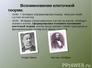 Возникновение клеточной теории.1838г. Т.Шлейден (сформулировал вывод: ткани раст