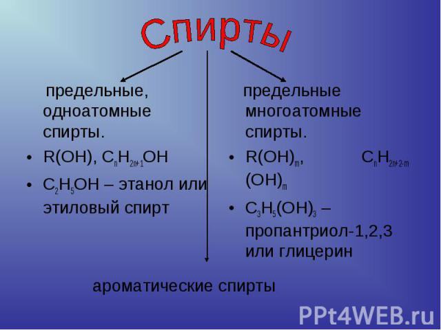 Спирты предельные, одноатомные спирты.R(OH), CnH2n+1OНС2Н5ОН – этанол или этиловый спирт предельные многоатомные спирты. R(OH)m, CnH2n+2-m (OH)mС3Н5(ОН)3 – пропантриол-1,2,3 или глицерин ароматические спирты