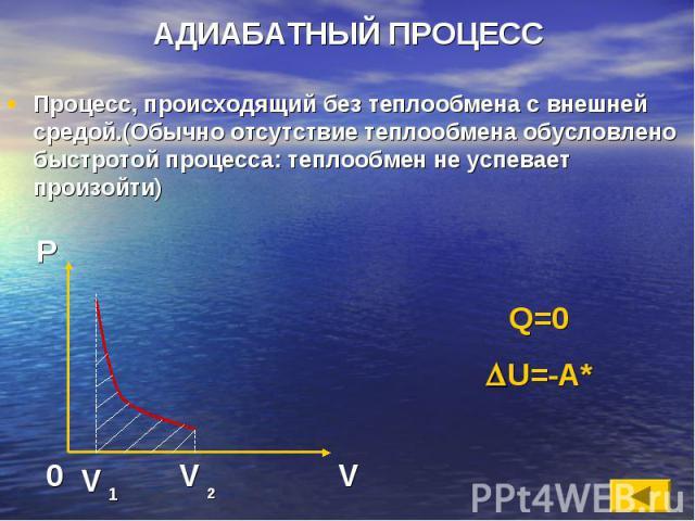 АДИАБАТНЫЙ ПРОЦЕСС Процесс, происходящий без теплообмена с внешней средой.(Обычно отсутствие теплообмена обусловлено быстротой процесса: теплообмен не успевает произойти)