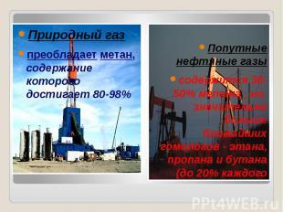Природный газ Природный газпреобладает метан, содержание которого достигает 80-9