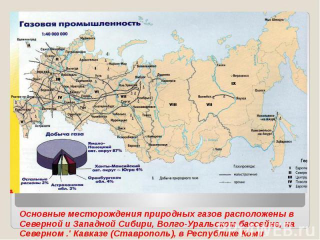 Основные месторождения природных газов расположены в Северной и Западной Сибири, Волго-Уральском бассейне, на Северном .' Кавказе (Ставрополь), в Республике Коми.