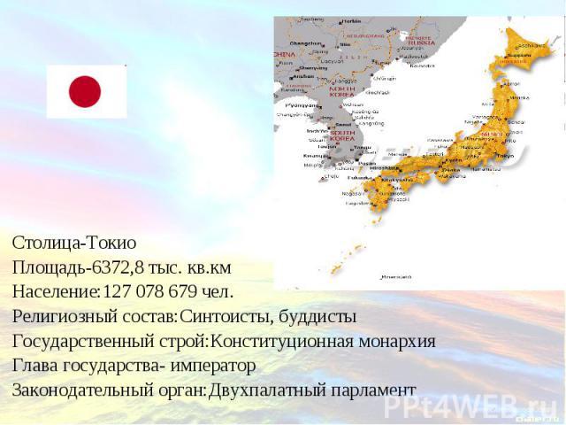 Столица-ТокиоПлощадь-6372,8 тыс. кв.кмНаселение:127 078 679 чел. Религиозный состав:Синтоисты, буддистыГосударственный строй:Конституционная монархия Глава государства- императорЗаконодательный орган:Двухпалатный парламент