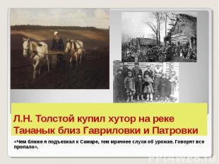 Л.Н. Толстой купил хутор на реке Тананык близ Гавриловки и Патровки «Чем ближе я