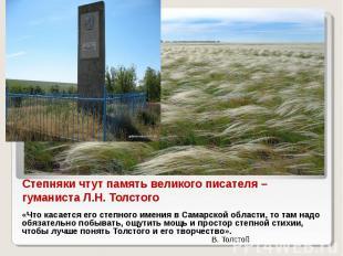 Степняки чтут память великого писателя – гуманиста Л.Н. Толстого «Что касается е