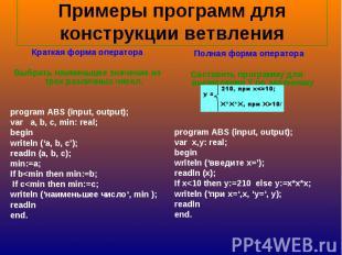 Примеры программ для конструкции ветвления Краткая форма оператораВыбрать наимен