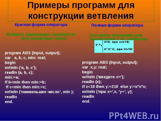 Примеры программ для конструкции ветвления Краткая форма оператораВыбрать наименьшее значение из трех различных чисел.program ABS (input, output);var a, b, c, min: real;beginwriteln ('a, b, c');readln (a, b, c);min:=a;If b