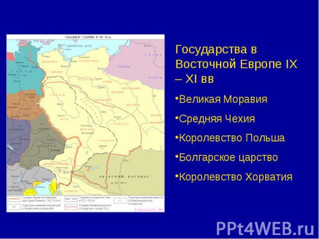Государства в Восточной Европе IX – XI ввВеликая МоравияСредняя ЧехияКоролевство ПольшаБолгарское царствоКоролевство Хорватия