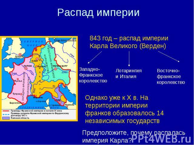 Распад империи 843 год – распад империи Карла Великого (Верден) Западно- Франкское королевство Лотарингия и Италия Восточно-франкское королевство Однако уже к X в. На территории империи франков образовалось 14 независимых государств Предположите, по…