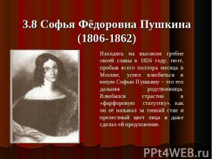 3.8 Софья Фёдоровна Пушкина(1806-1862) Находясь на высоком гребне своей славы в