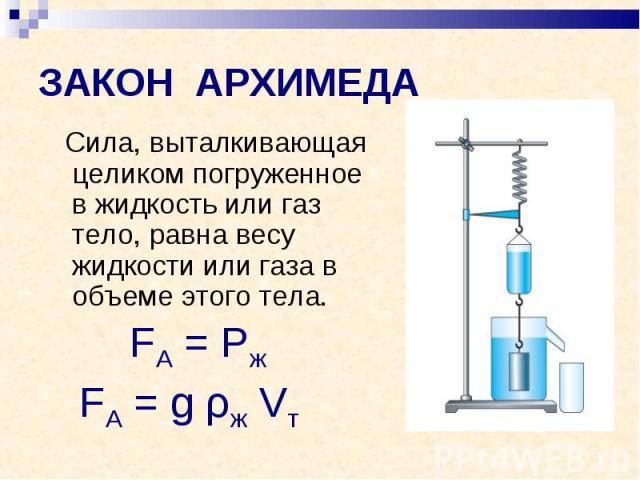 ЗАКОН АРХИМЕДА Сила, выталкивающая целиком погруженное в жидкость или газ тело, равна весу жидкости или газа в объеме этого тела.