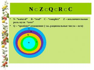 """N C Z C Q C R C C N- """"natural"""" R- """"real"""" C - """"complex"""" Z – исключительная роль н"""