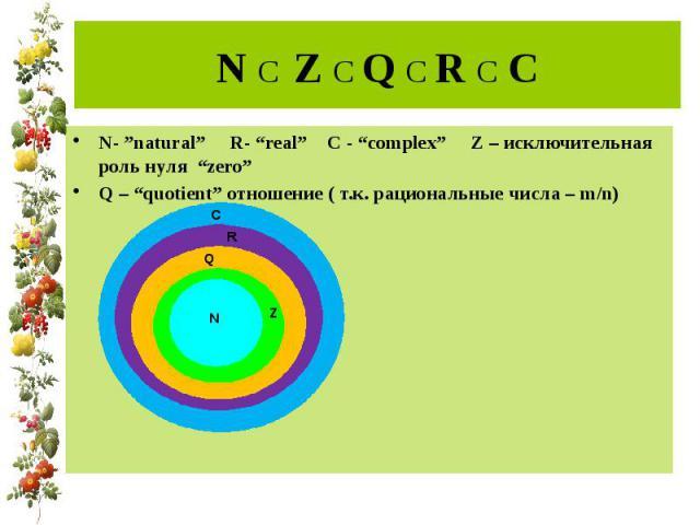 """N C Z C Q C R C C N- """"natural"""" R- """"real"""" C - """"complex"""" Z – исключительная роль нуля """"zero""""Q – """"quotient"""" отношение ( т.к. рациональные числа – m/n)"""