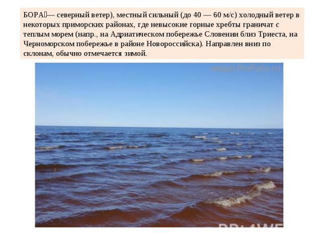 БОРА— северный ветер), местный сильный (до 40 — 60 м/с) холодный ветер в некоторых приморских районах, где невысокие горные хребты граничат с теплым морем (напр., на Адриатическом побережье Словении близ Триеста, на Черноморском побережье в районе Н…