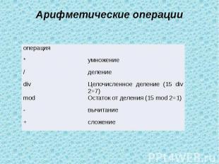 Арифметические операции