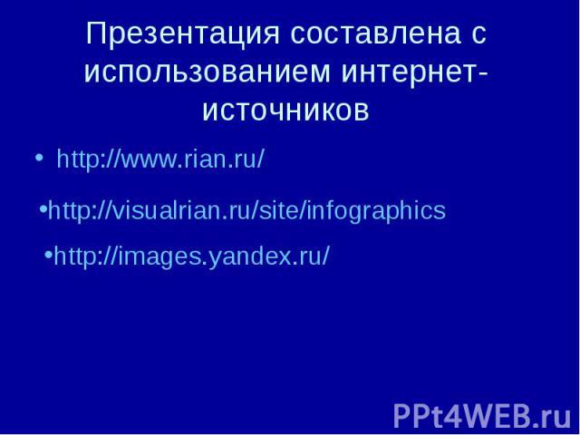 Презентация составлена с использованием интернет-источников http://www.rian.ru/ http://images.yandex.ru/