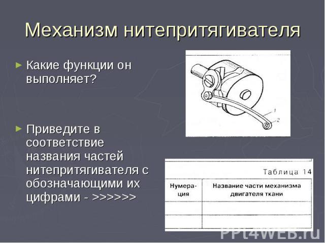 Какие функции он выполняет?Приведите в соответствие названия частей нитепритягивателя с обозначающими их цифрами - >>>>>>