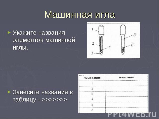 Машинная игла Укажите названия элементов машинной иглы.Занесите названия в таблицу - >>>>>>>