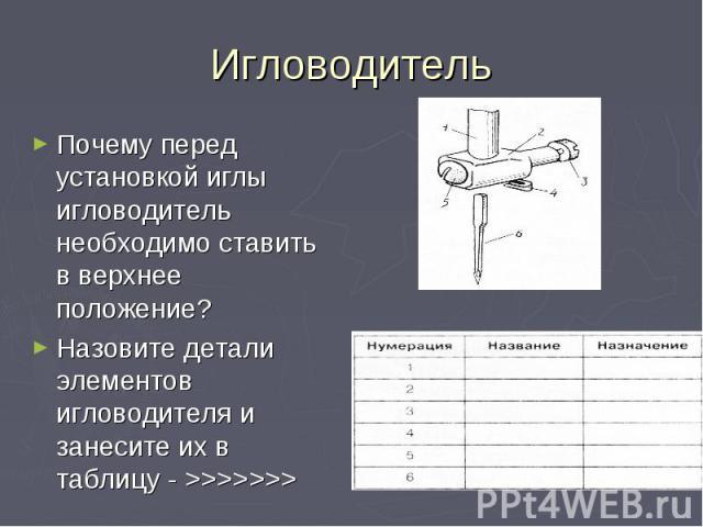 Почему перед установкой иглы игловодитель необходимо ставить в верхнее положение?Назовите детали элементов игловодителя и занесите их в таблицу - >>>>>>>