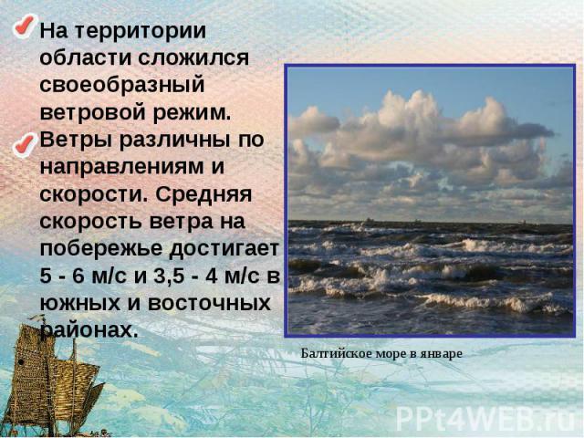 На территории области сложился своеобразный ветровой режим. Ветры различны по направлениям и скорости. Средняя скорость ветра на побережье достигает 5 - 6 м/с и 3,5 - 4 м/с в южных и восточных районах.