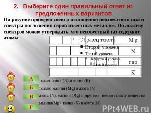 2. Выберите один правильный ответ из предложенных вариантовтолько азота (N) и ка