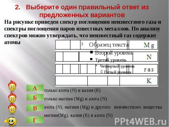 2. Выберите один правильный ответ из предложенных вариантовтолько азота (N) и калия (К)только магния (Mg) и азота (N)азота (N), магния (Mg) и другого неизвестного веществамагния(Mg), калия (К) и азота (N)