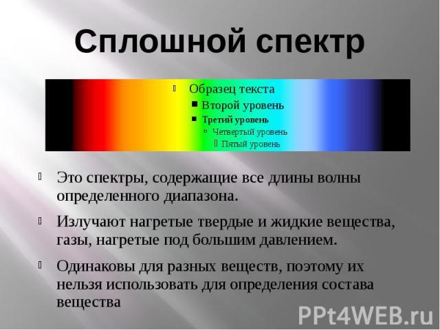 Сплошной спектрЭто спектры, содержащие все длины волны определенного диапазона.Излучают нагретые твердые и жидкие вещества, газы, нагретые под большим давлением.Одинаковы для разных веществ, поэтому их нельзя использовать для определения состава вещества