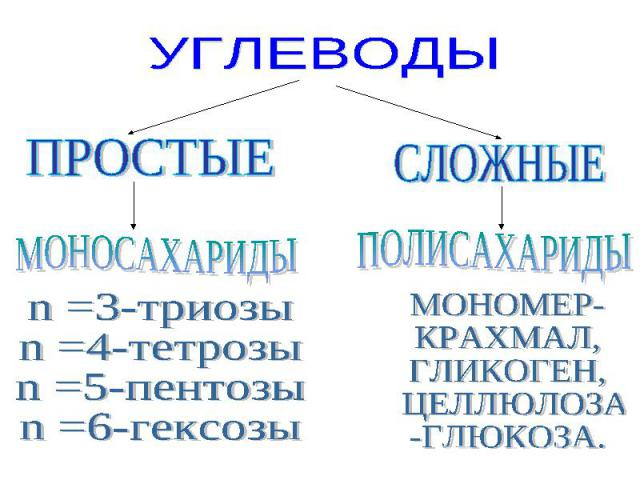 УГЛЕВОДЫ ПРОСТЫЕ МОНОСАХАРИДЫ n =3-триозыn =4-тетрозыn =5-пентозыn =6-гексозы ПОЛИСАХАРИДЫ МОНОМЕР-КРАХМАЛ,ГЛИКОГЕН, ЦЕЛЛЮЛОЗА-ГЛЮКОЗА.
