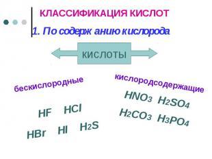 КЛАССИФИКАЦИЯ КИСЛОТ 1. По содержанию кислорода бескислородные HF HClHBr HI H2S