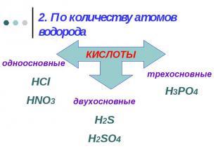 2. По количеству атомов водорода одноосновныеHClHNO3 двухосновныеH2SH2SO4 трехос