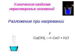 Химические свойства нерастворимых оснований Разложение при нагревании t0 Сu(OН)2
