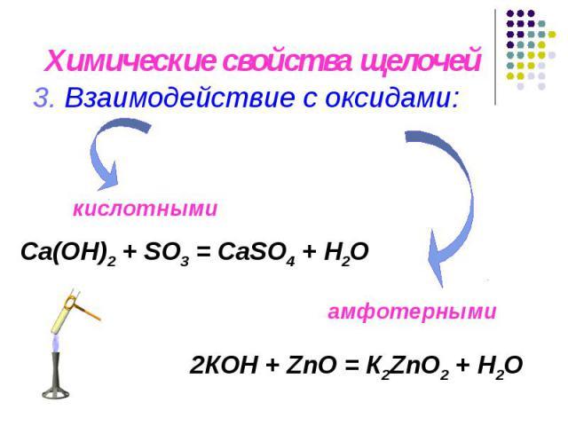 Химические свойства щелочей 3. Взаимодействие с оксидами: Са(OН)2 + SO3 = СаSO4 + H2O 2КOН + ZnO = К2ZnO2 + H2O