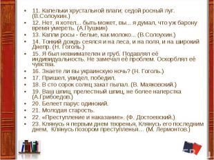 11. Капельки хрустальной влаги; седой росный луг. (В.Солоухин.) 12. Нет, я хотел