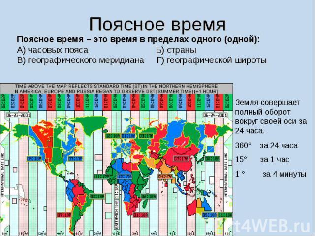 Поясное время Поясное время – это время в пределах одного (одной): А) часовых пояса Б) страны В) географического меридиана Г) географической широты Земля совершает полный оборот вокруг своей оси за 24 часа.360° за 24 часа15° за 1 час1 ° за 4 минуты