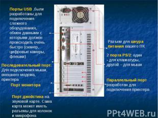 Порты USB ,были разработаны для подключения сложного оборудования, обмен данными