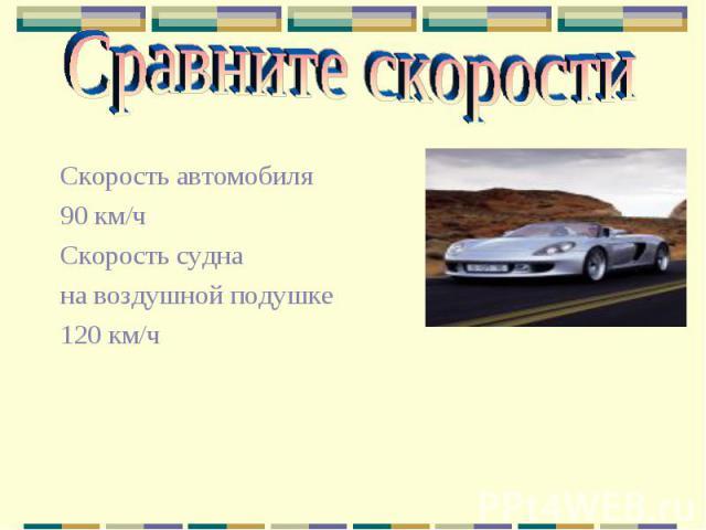 Сравните скорости Скорость автомобиля 90 км/ч Скорость судна на воздушной подушке 120 км/ч
