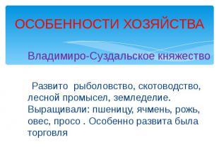 ОСОБЕННОСТИ ХОЗЯЙСТВА Владимиро-Суздальское княжество Развито рыболовство, ското