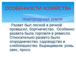 ОСОБЕННОСТИ ХОЗЯЙСТВА Новгородская земля Развит был лесной и речной промысел, бо