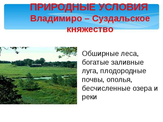 ПРИРОДНЫЕ УСЛОВИЯ Владимиро – Суздальское княжество Обширные леса, богатые заливные луга, плодородные почвы, ополья, бесчисленные озера и реки