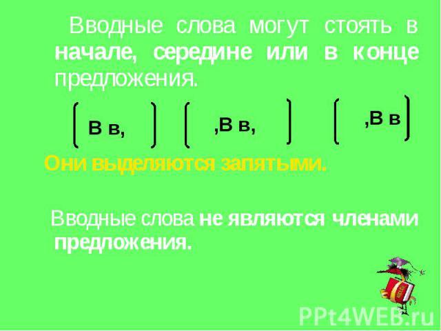 Вводные слова могут стоять в начале, середине или в конце предложения. Они выделяются запятыми. Вводные слова не являются членами предложения.