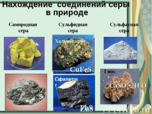 Нахождение соединений серы в природе Самородная сера Сульфидная сера Сульфатная