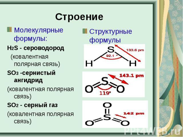 Строение Молекулярные формулы:Н2S - сероводород (ковалентная полярная связь)SO3-сернистый ангидрид(ковалентная полярная связь)SO2- серный газ (ковалентная полярная связь) Структурные формулы