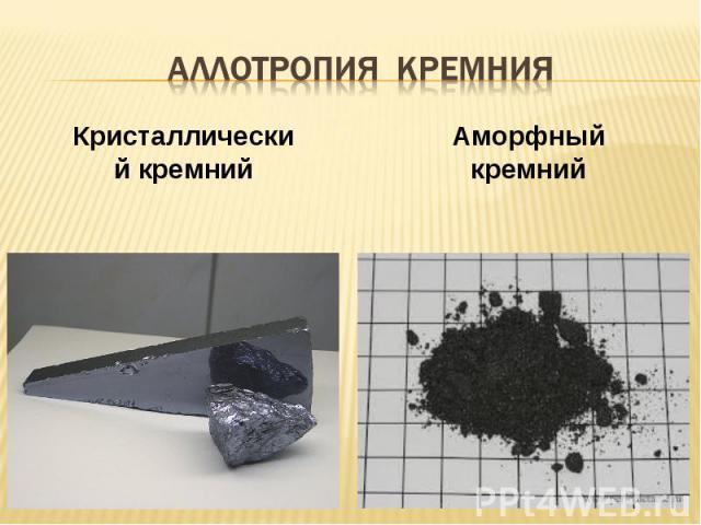 аллотропия КРЕМНИЯ Кристаллический кремний Аморфный кремний